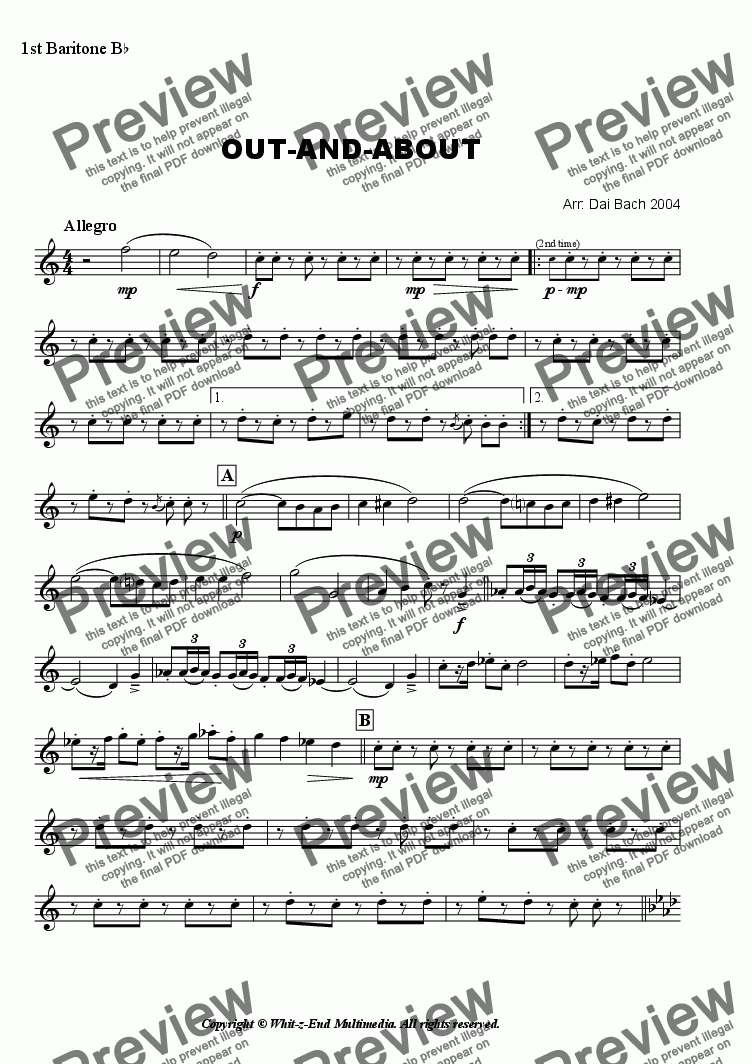 page one of the 1st Baritone part from Out-and-About