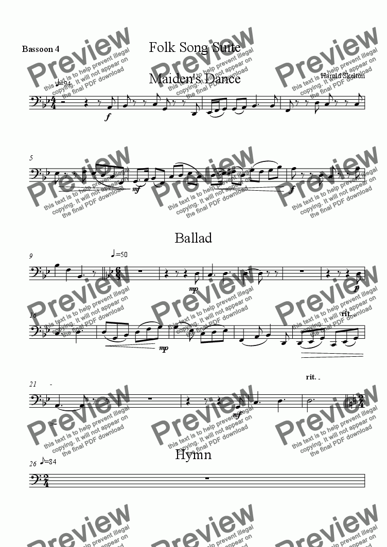 page one of the Bassoon 4 part from Folk Song Suite