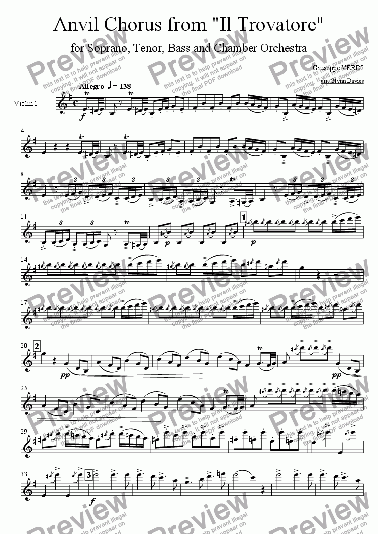 "page one of the Violin 1 part from Anvil Chorus, from ""Il Trovatore"""