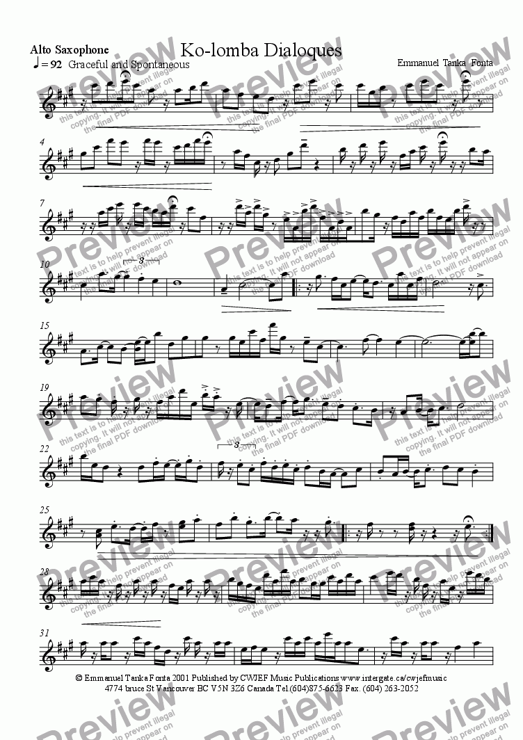 page one of the Alto Saxophone part from Ko-Lomba Dialoques
