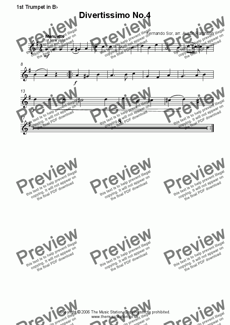 page one of the Trumpet 1 part from Divertissimo No.4 (Menuetto) - brass quintet