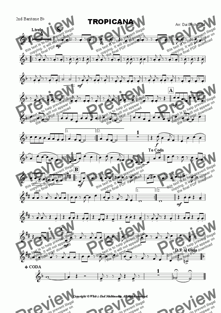 page one of the 2nd Baritone part from Tropicana