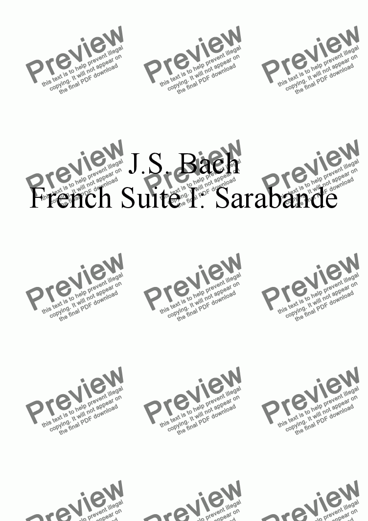 page one of the Violin I part from French Suite I: Sarabande by J.S. Bach, arr. for String Quartet