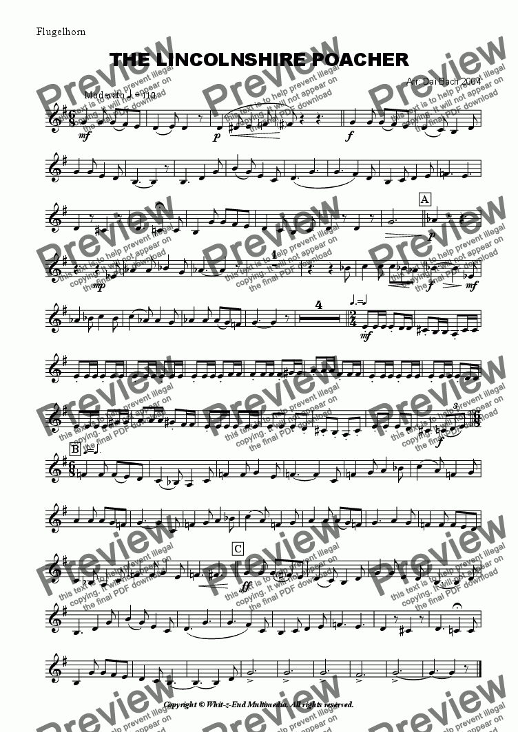 page one of the Flugelhorn part from The Lincolnshire Poacher