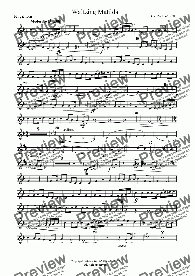 page one of the Flugelhorn part from Waltzing Matilda
