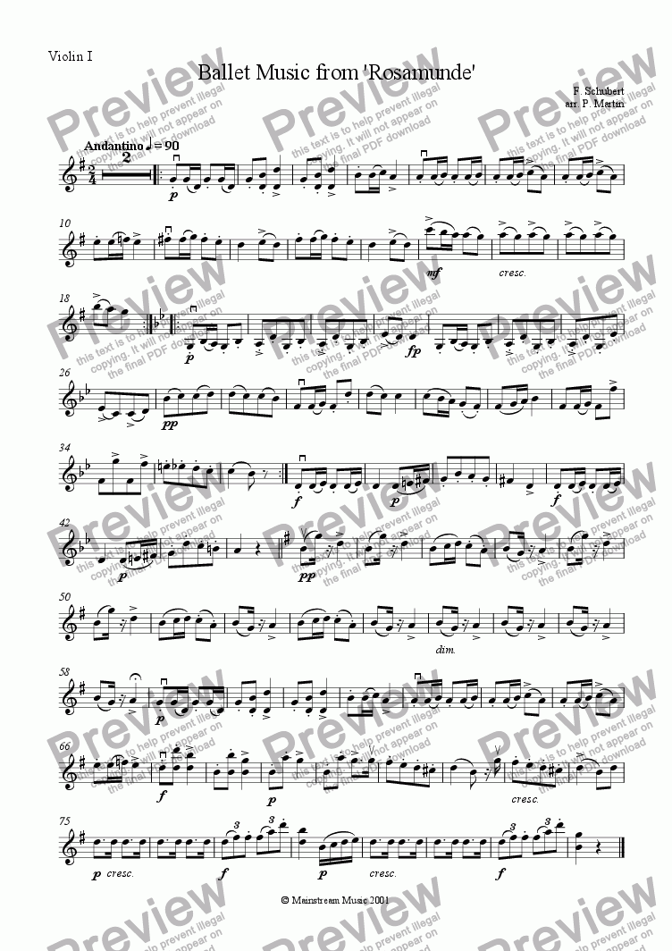 page one of the Violin 1 part from Ballet Music from 'Rosamunde'