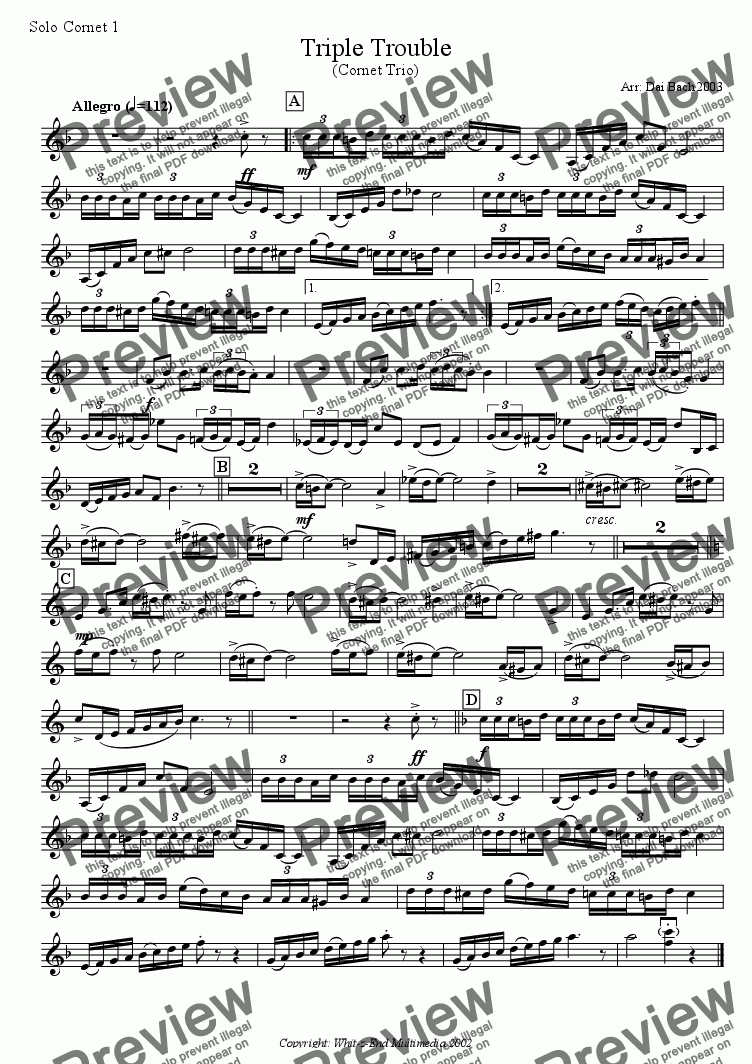 page one of the Solo Cornet 1 part from Triple Trouble