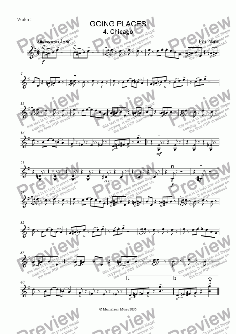 page one of the Violin 1 part from Going Places - Chicago