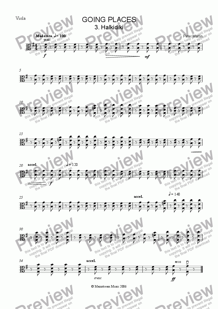 page one of the Viola part from Going Places - Halkidiki