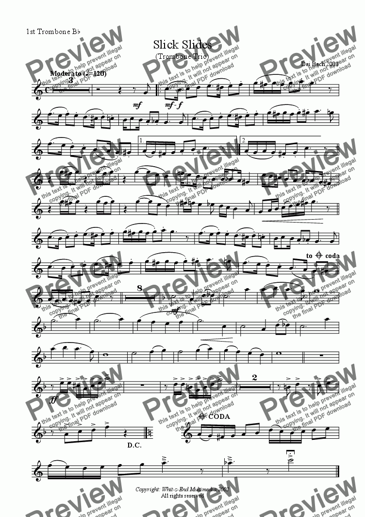 page one of the 1st Trombone part from Slick Slides