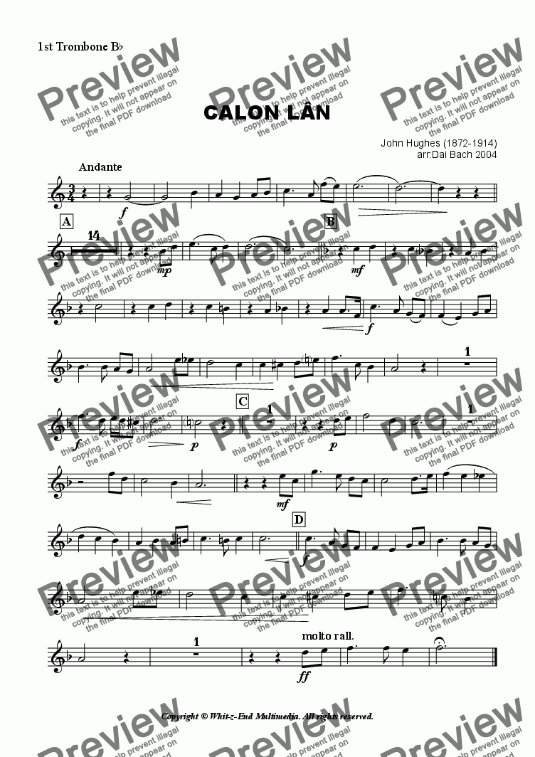 page one of the 1st Trombone part from Calon Lan