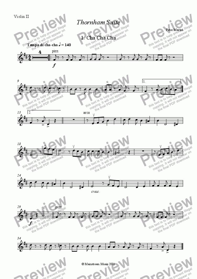 page one of the Violin 2 part from Thornham Suite