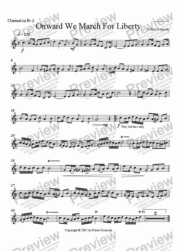 page one of the Clarinet 2 part from Onward We March For Liberty