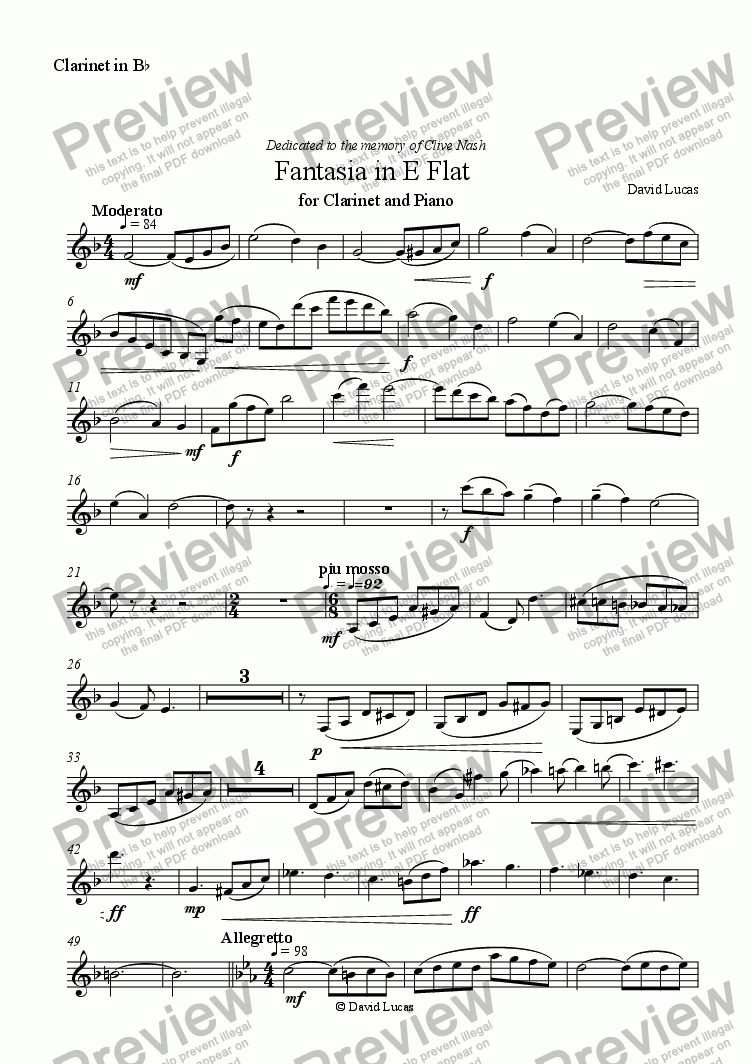page one of the Clarinet in B Flat part from Fantasia in E Flat for Clarinet and Piano