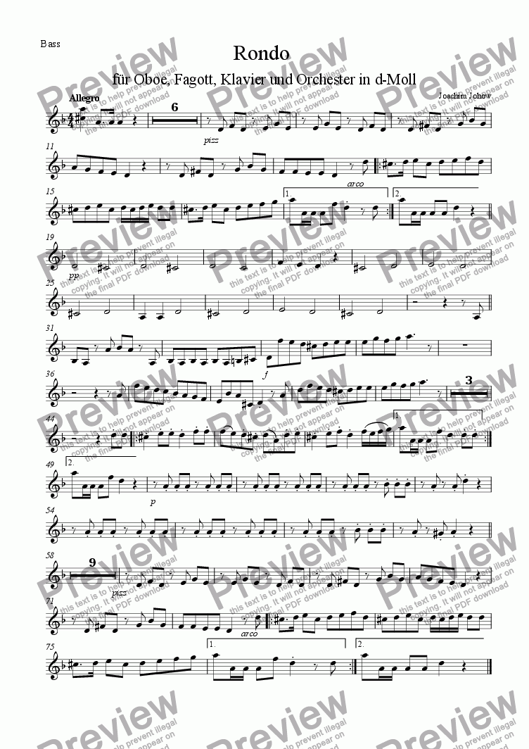 page one of the 1. Vl part from Konzertrondo for Ob, Fg, Piano u. Orchester