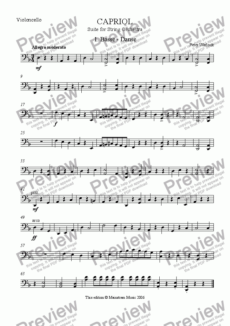 page one of the Cello part from Capriol Suite - 1. Basse-Danse
