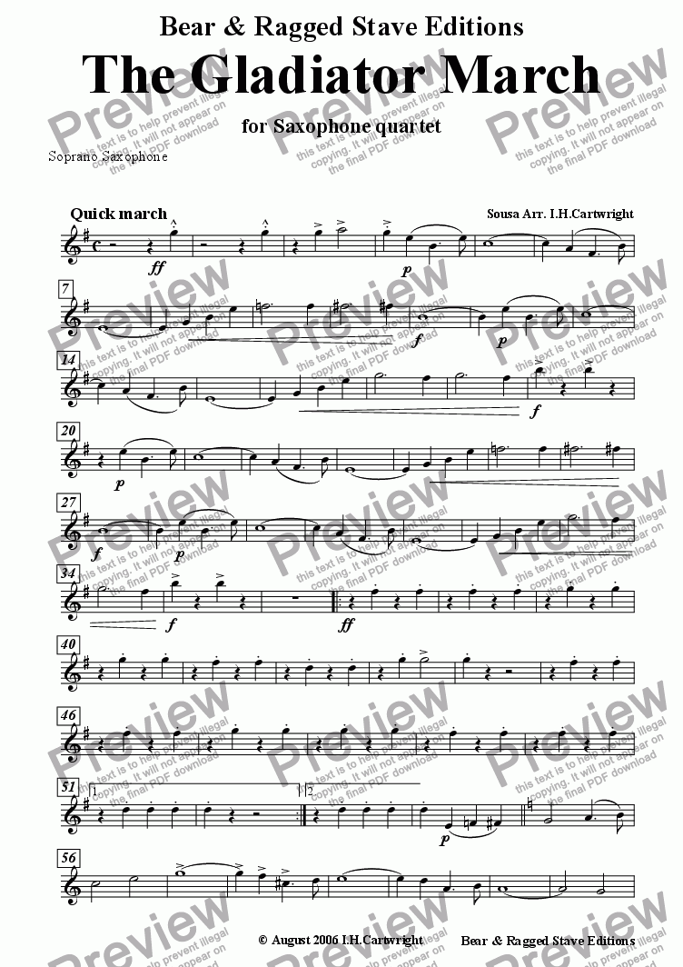 page one of the Soprano Saxophone part from The Gladiator March for saxophone quartet