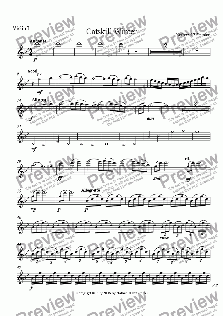 page one of the Violin I part from Catskill Winter