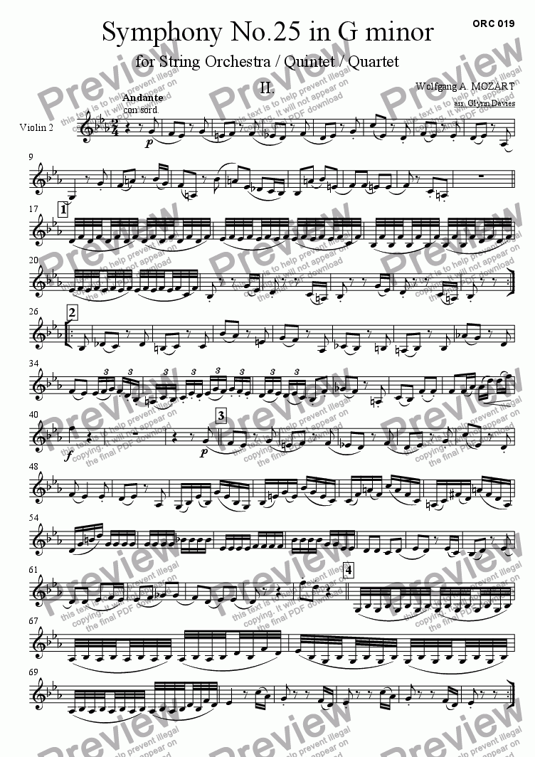 page one of the Violin 2 part from Symphony No.25 - 2. Andante