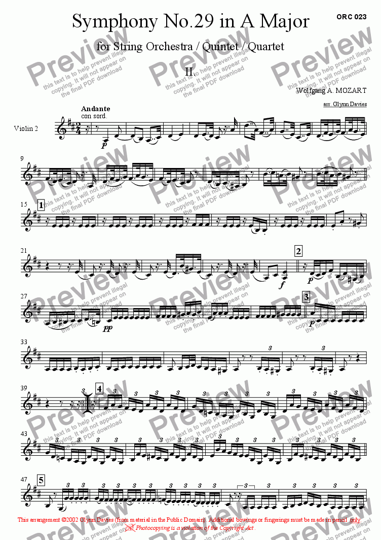 page one of the Violin 2 part from Symphony No.29 - 2. Andante