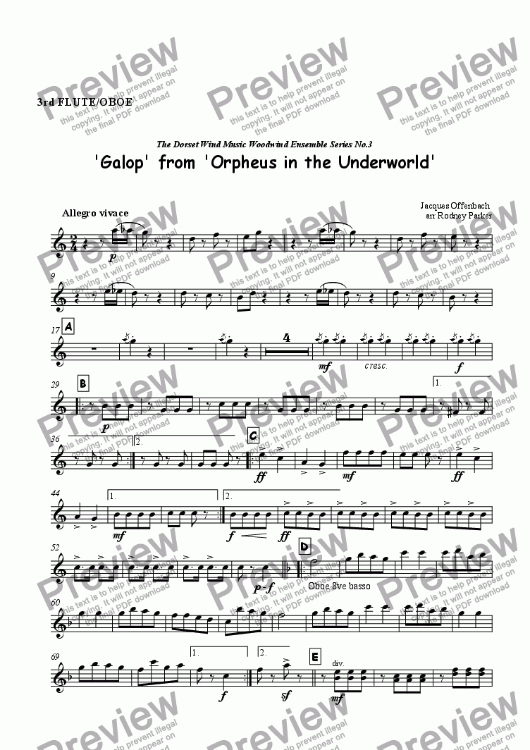 page one of the 3rd Flute or Oboe part from Galop