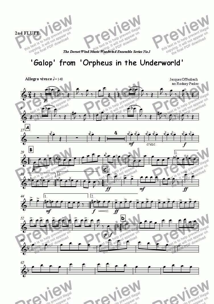 page one of the 2nd Flute part from Galop