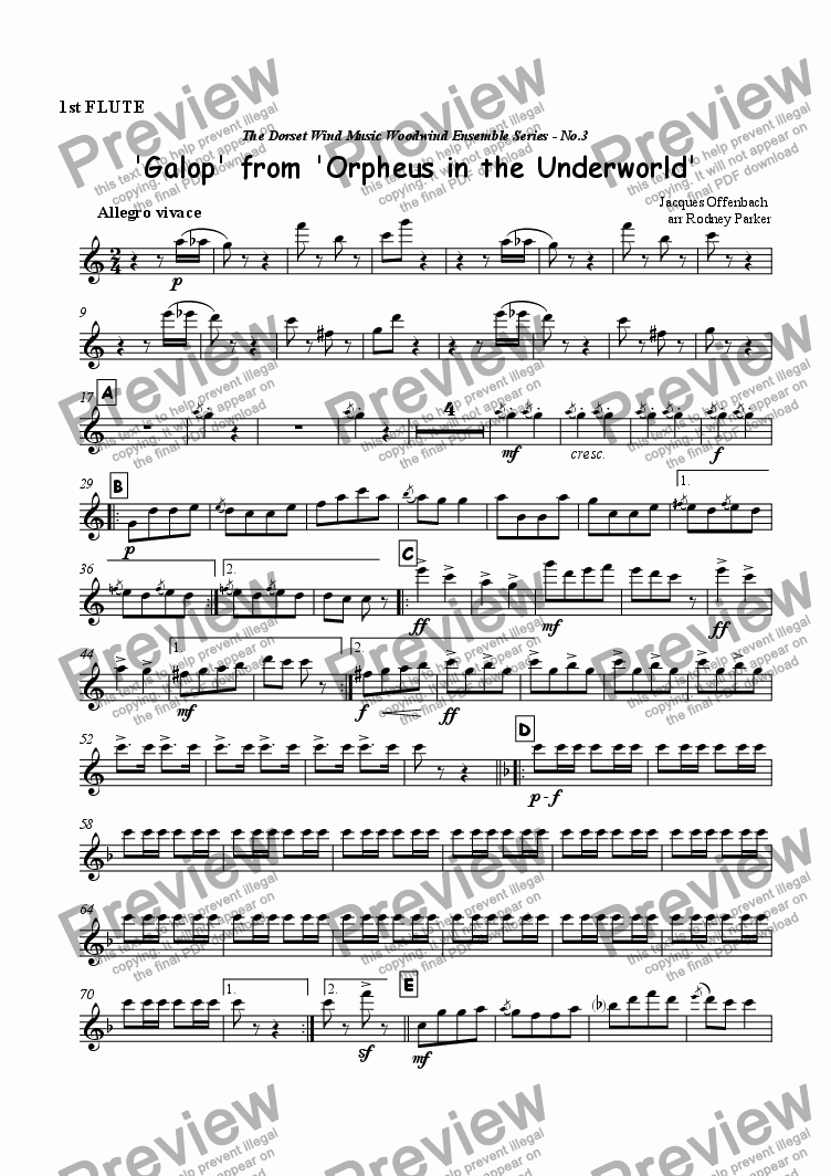 page one of the 1st Flute part from Galop