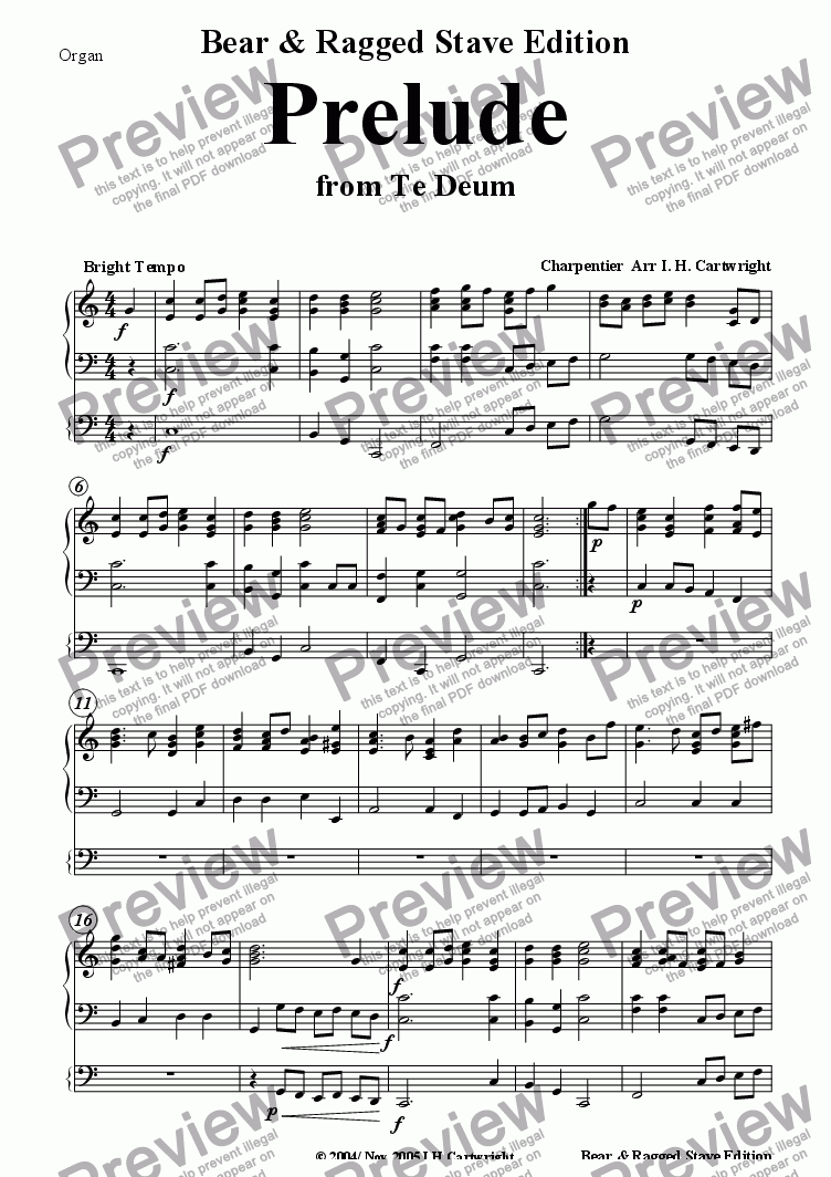 page one of the organ part from Prelude from Te Deum for Brass Quintet (opt.Timp/Organ)