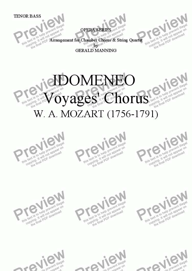 page one of the TENOR BASS part from Come To The Opera - Mozart, W.A.- Idomeno - Voyagers' Chorus - arr, for Chamber Chorus & String Quartet by Gerald Manning