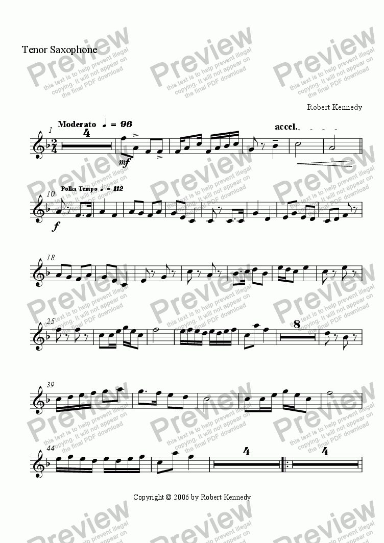 page one of the Tenor Saxes part from Yodeling Winds Polka