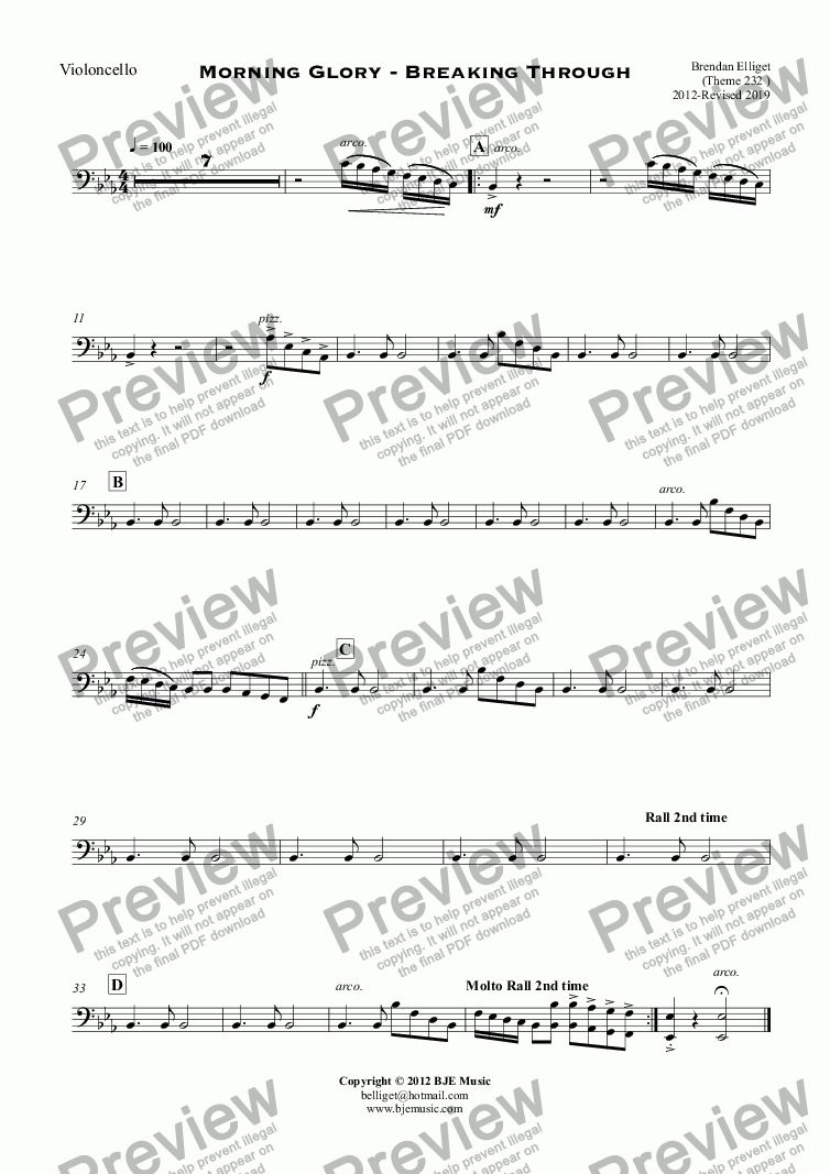 page one of the Violoncello part from Morning Glory - Breaking Through - Orchestra