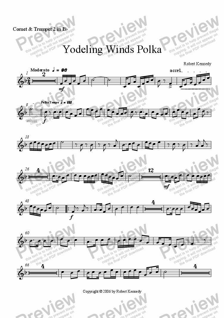 page one of the 2nd Cornet part from Yodeling Winds Polka