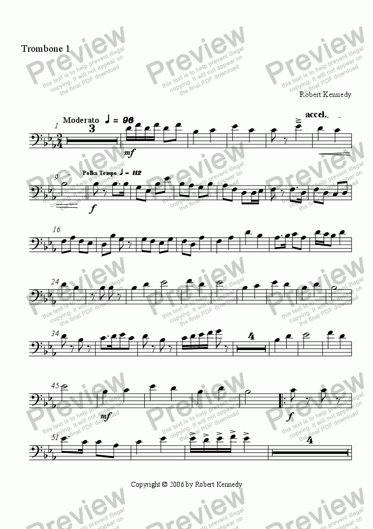 page one of the 1st Trombone part from Yodeling Winds Polka