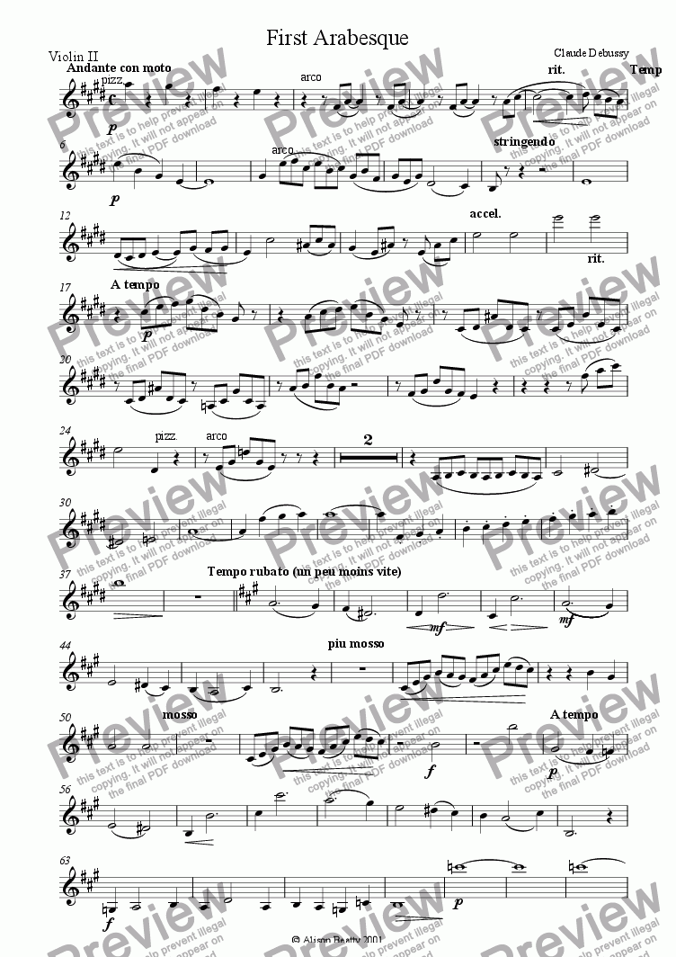 page one of the violin 2 part from Arabesque