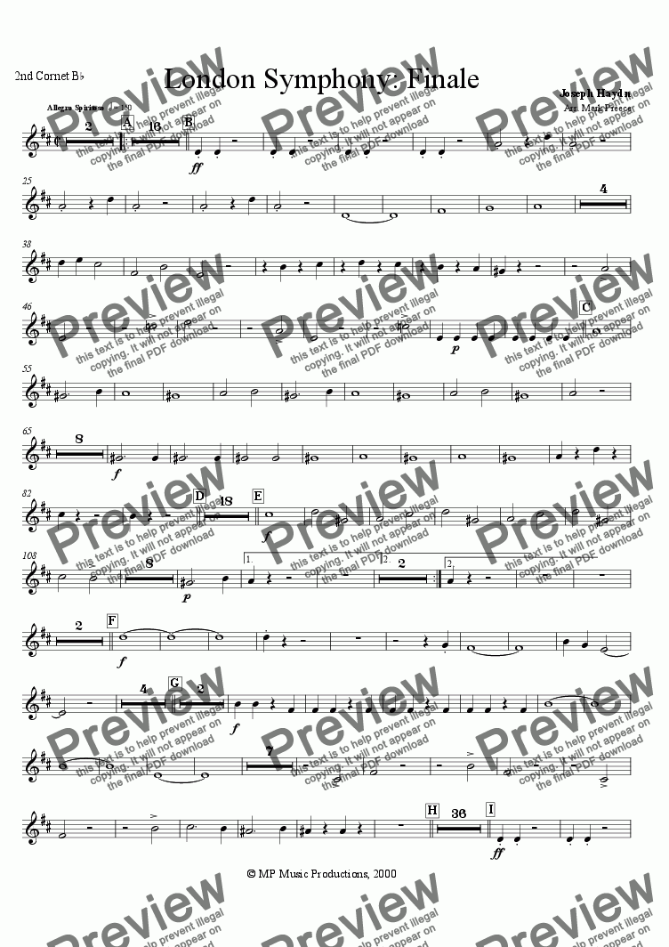 page one of the 2nd cornet part from Haydn - Symphony No. 104 Finale (Brass Band)