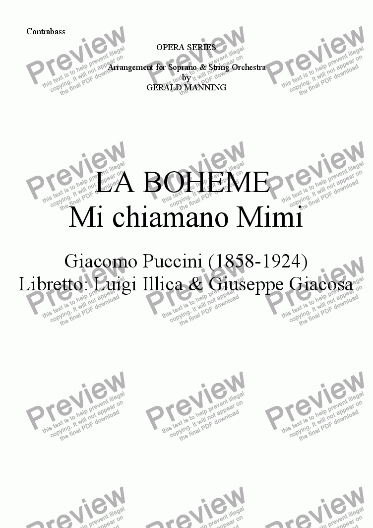 page one of the Contrabasso part from Come To The Opera - Puccini, G.- La Boheme - Mi chiamano Mimi - arr, for Soprano & String Orchestra by Gerald Manning