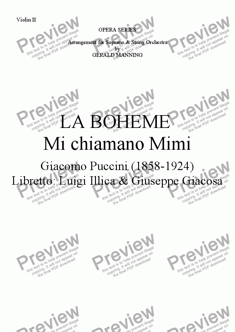 page one of the Violin II part from Come To The Opera - Puccini, G.- La Boheme - Mi chiamano Mimi - arr, for Soprano & String Orchestra by Gerald Manning