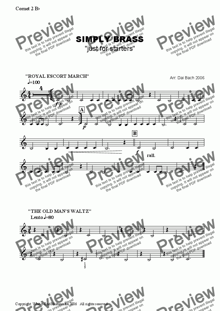 page one of the Cornet 2 part from Simply Brass (just for starters)