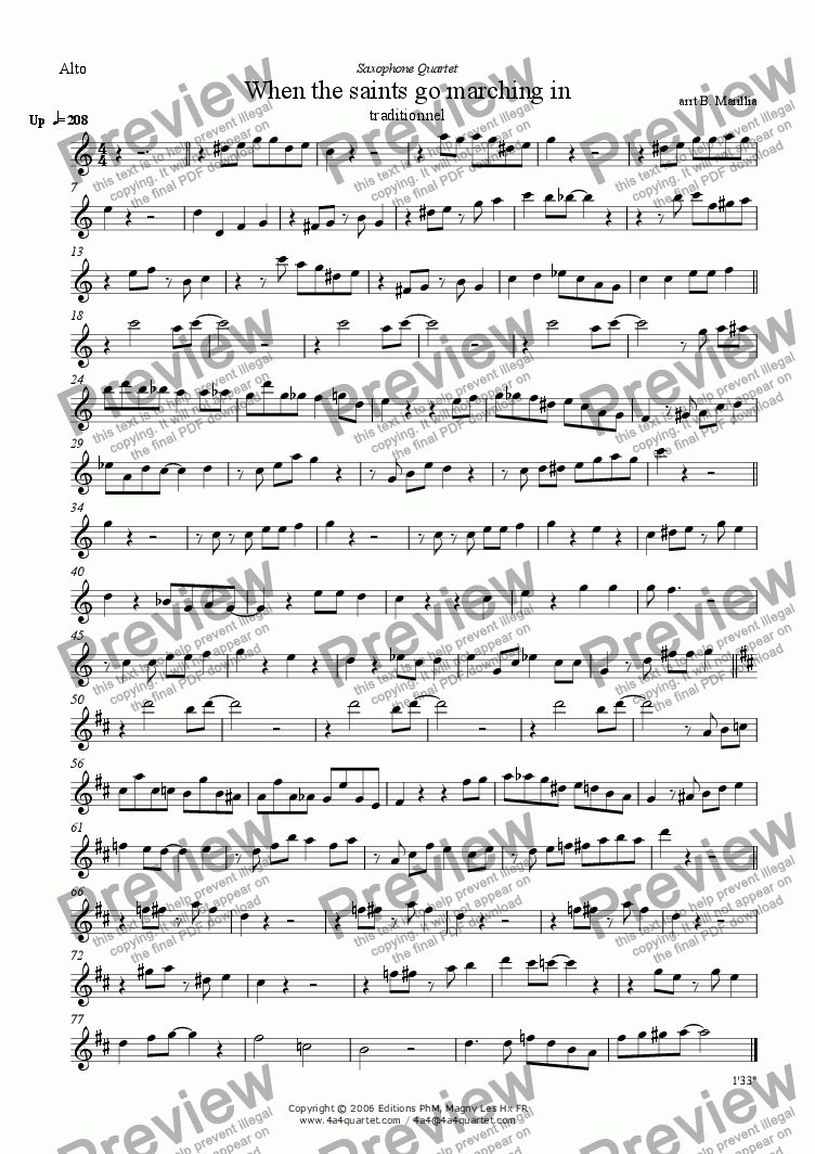 page one of the Alto Sax part from When the Saints Go Marchin' In (Sax Quartet)