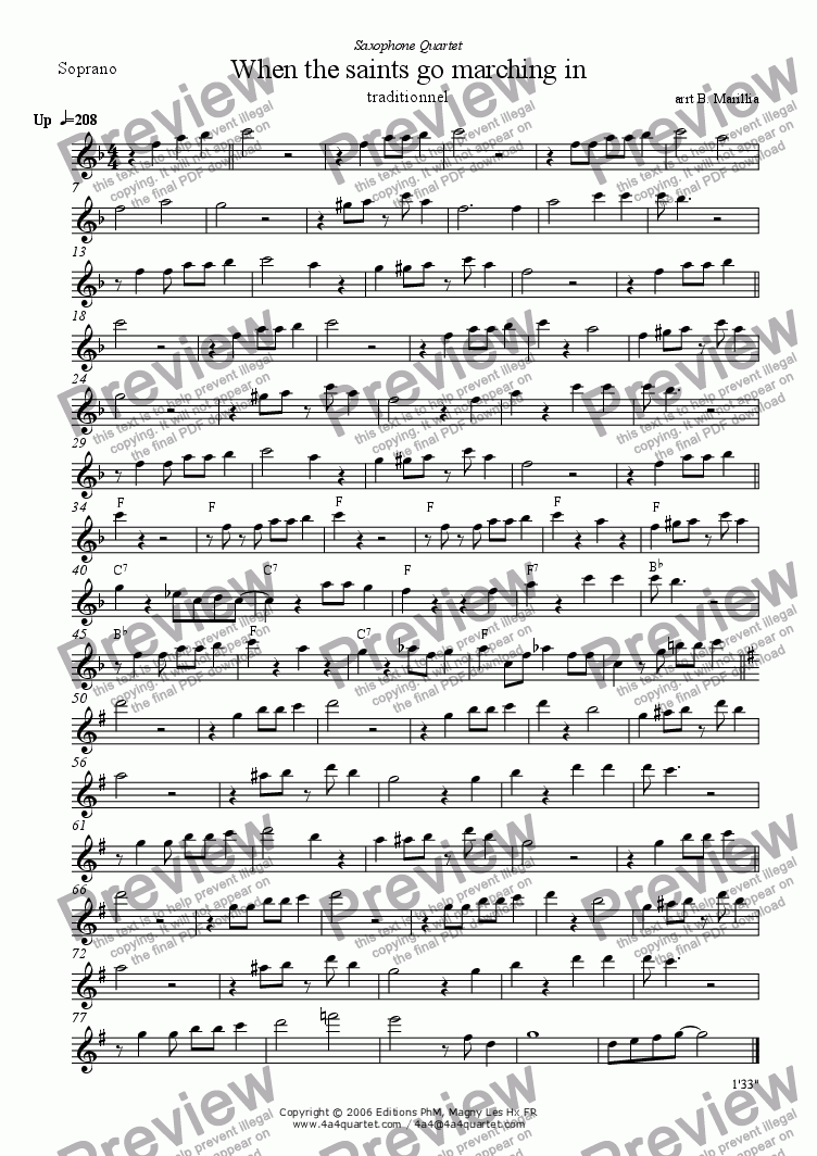 page one of the Soprano Sax part from When the Saints Go Marchin' In (Sax Quartet)