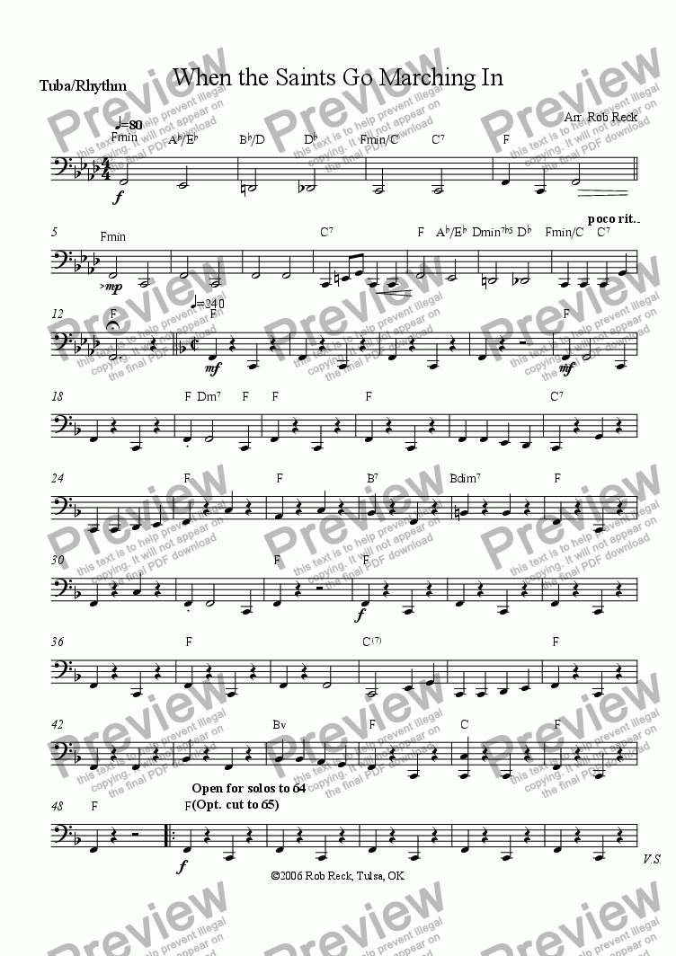 page one of the Tuba and opt. Rhythm Chords part from When the Saints Go Marching In (Brass Sextet, Quintet, or Choir