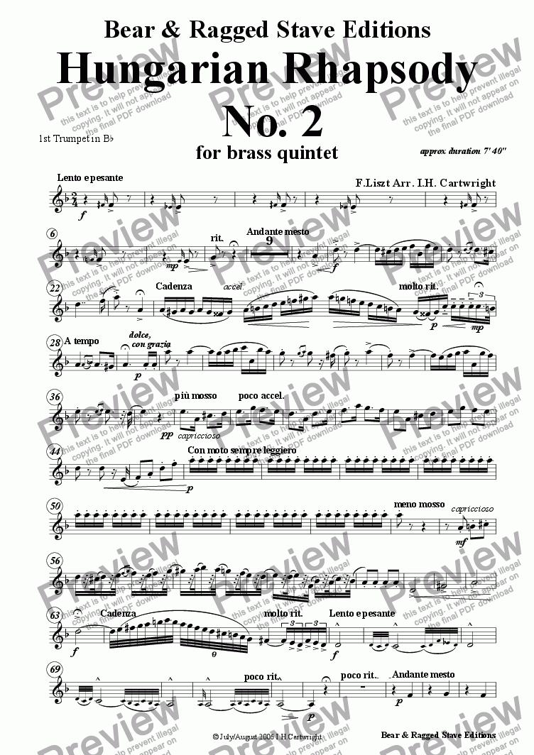 page one of the 1st Bb trumpet part from Hungarian Rhapsody No. 4 for brass quintet