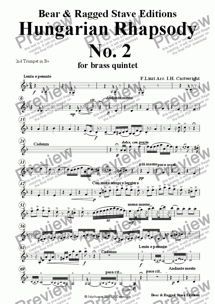 page one of the 2nd Bb trumpet part from Hungarian Rhapsody No. 4 for brass quintet