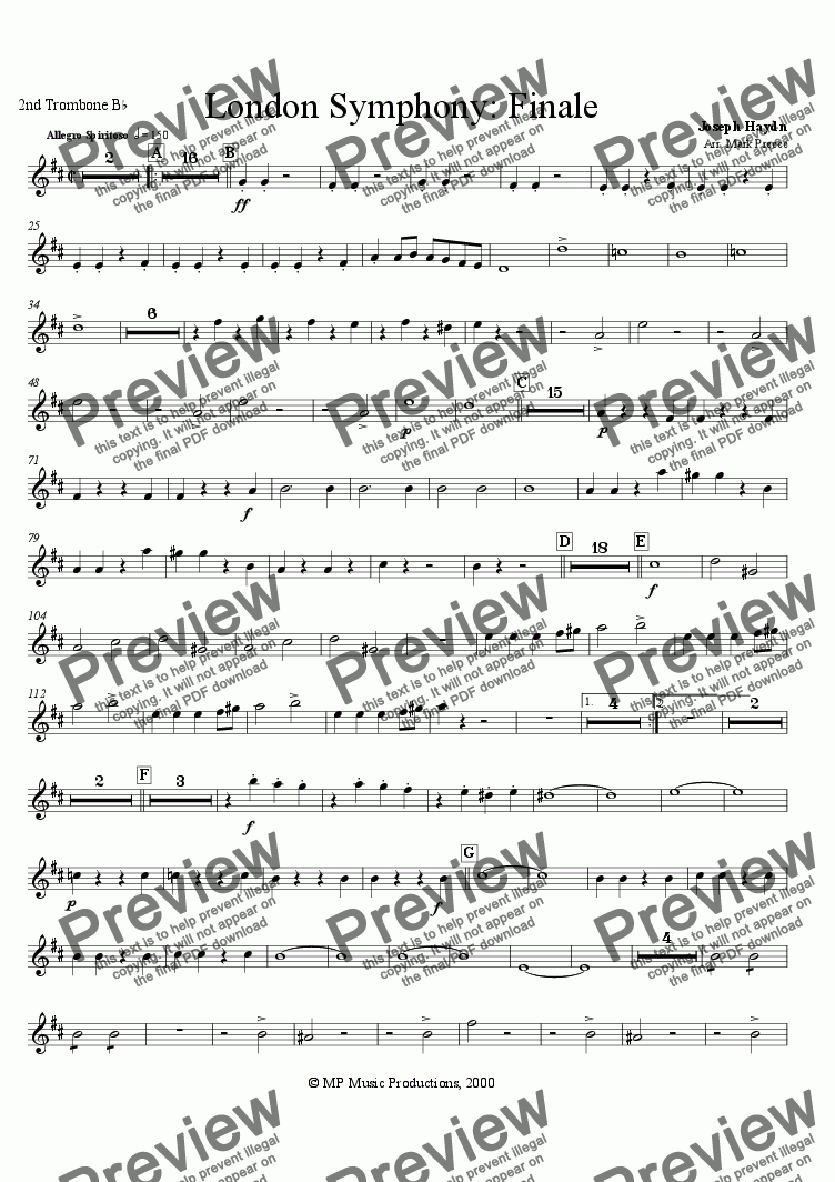 page one of the 2nd trombone part from Haydn - Symphony No. 104 Finale (Brass Band)