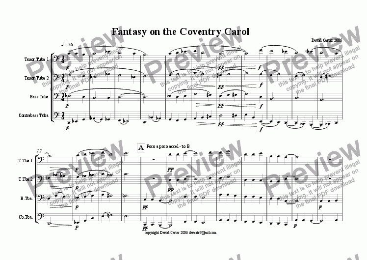 page one of the Tenor Tuba/Euphonium 2 part from Fantasy on the Coventry Carol