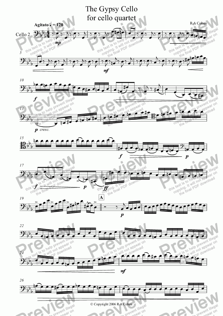 page one of the cello 2 part from THE GYPSY CELLO - for cello quartet