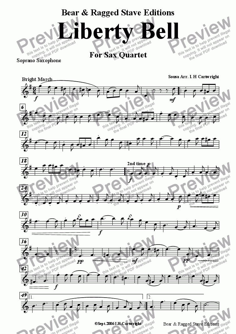 page one of the soprano Saxophone part from Liberty Bell for Saxophone quartet