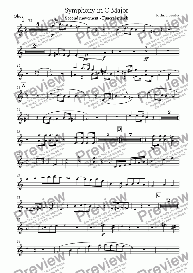 page one of the Oboe part from Symphony in C Major (Movement 2)