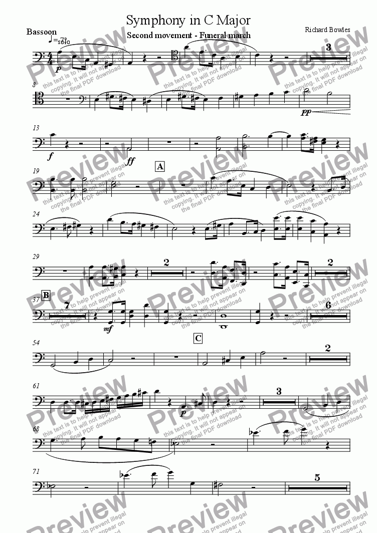 page one of the Bassoon part from Symphony in C Major (Movement 2)