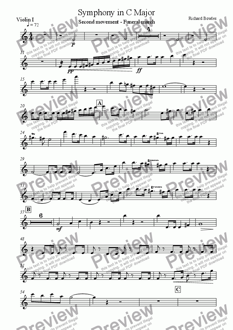 page one of the Violin I part from Symphony in C Major (Movement 2)